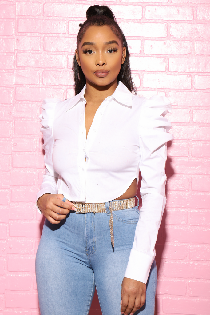 Diva White Cropped Button Up Top - Swank A Posh