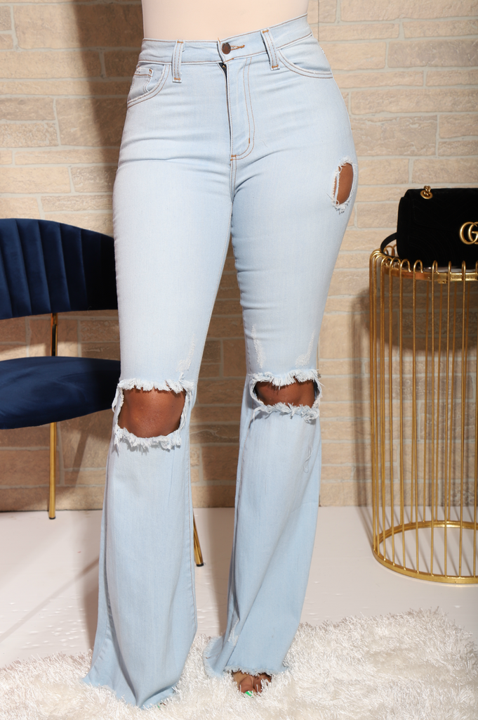 Ride Out Distressed Flare Jeans - Swank A Posh