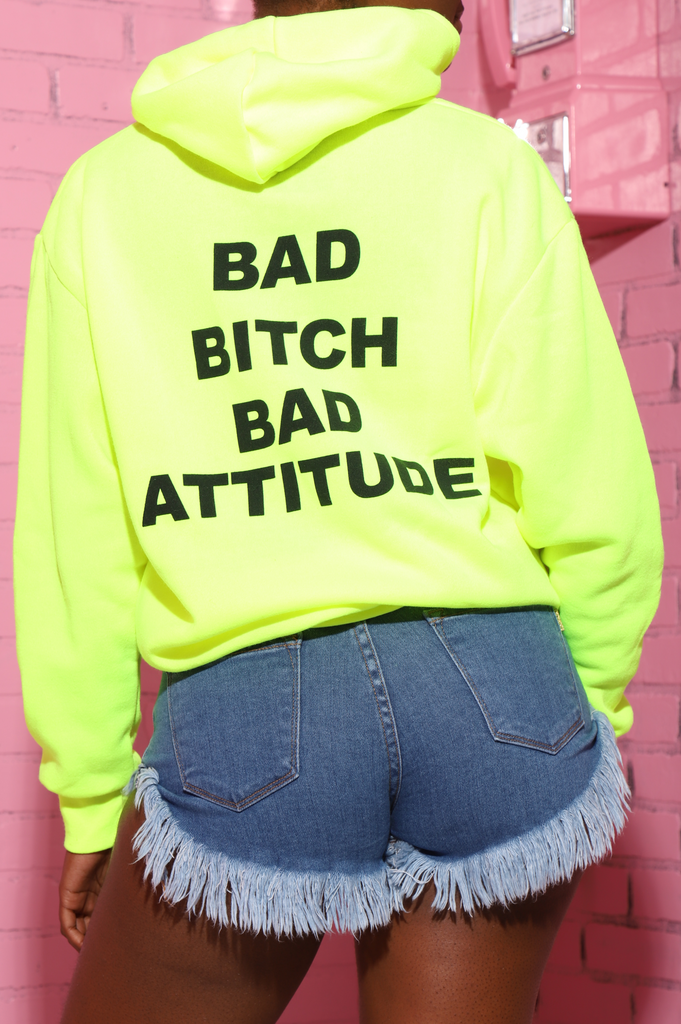 Bad Bitch Bad Attitude Printed Hoodie - Neon Yellow - Swank A Posh