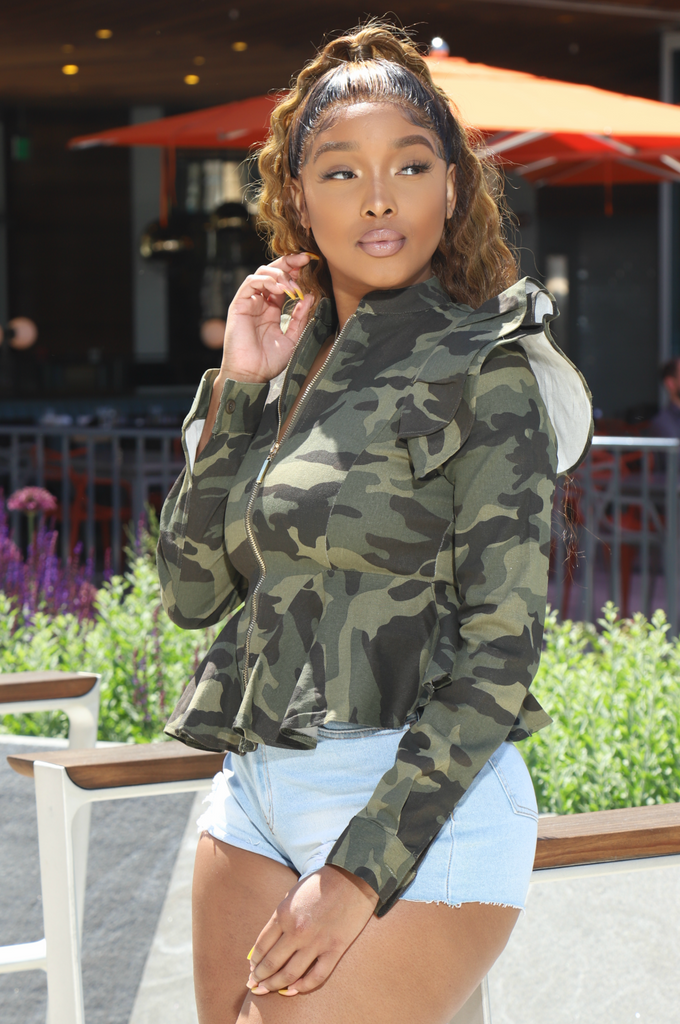 The Dream Camouflage Ruffle Jacket - Swank A Posh