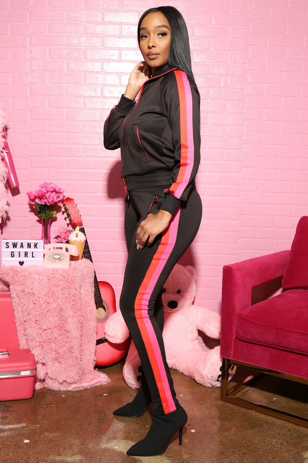 Jam Multi Colored Stripe Tracksuit - Black/Red - Swank A Posh