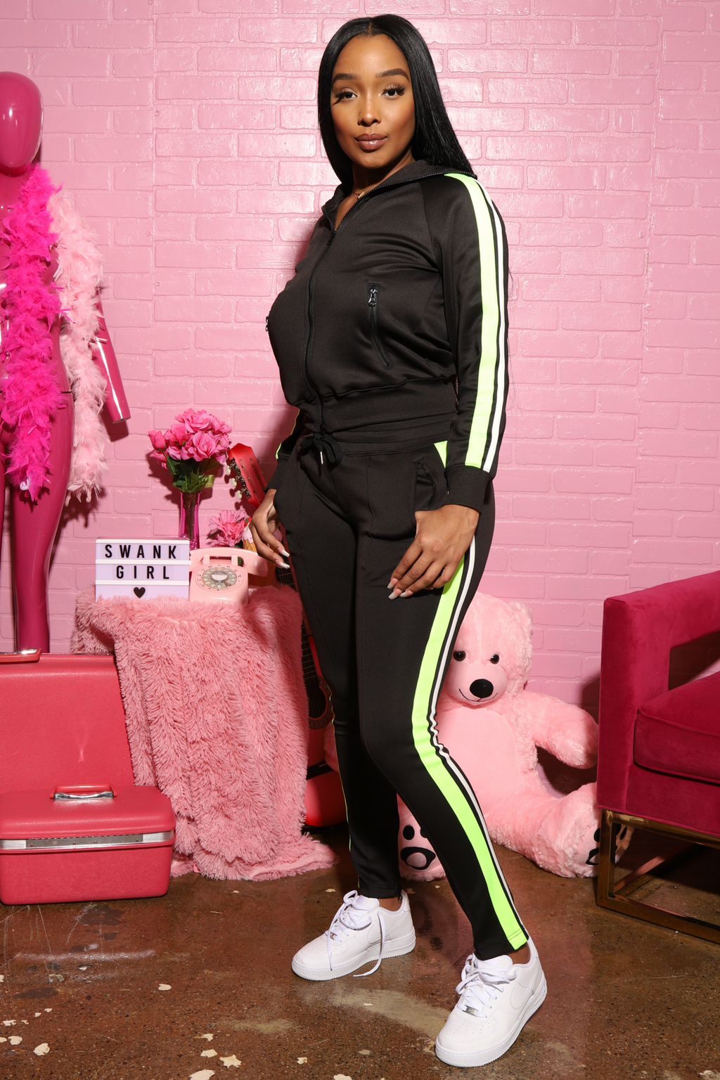 Dated Multi Colored Stripe Tracksuit - Black/Neon - Swank A Posh