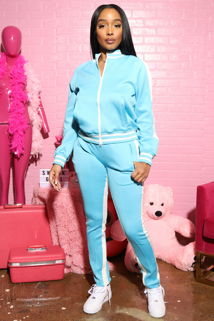 Razz Open Shoulder Tracksuit - Blue/White - Swank A Posh