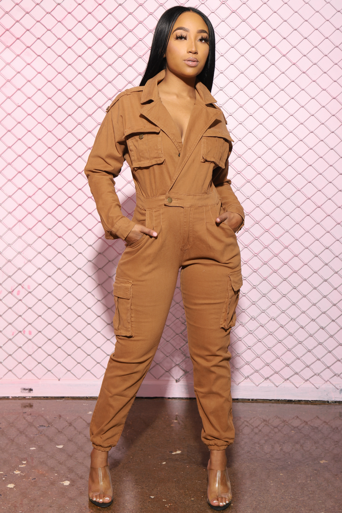 Cadet Utility Full Jumpsuit - Timber - Swank A Posh