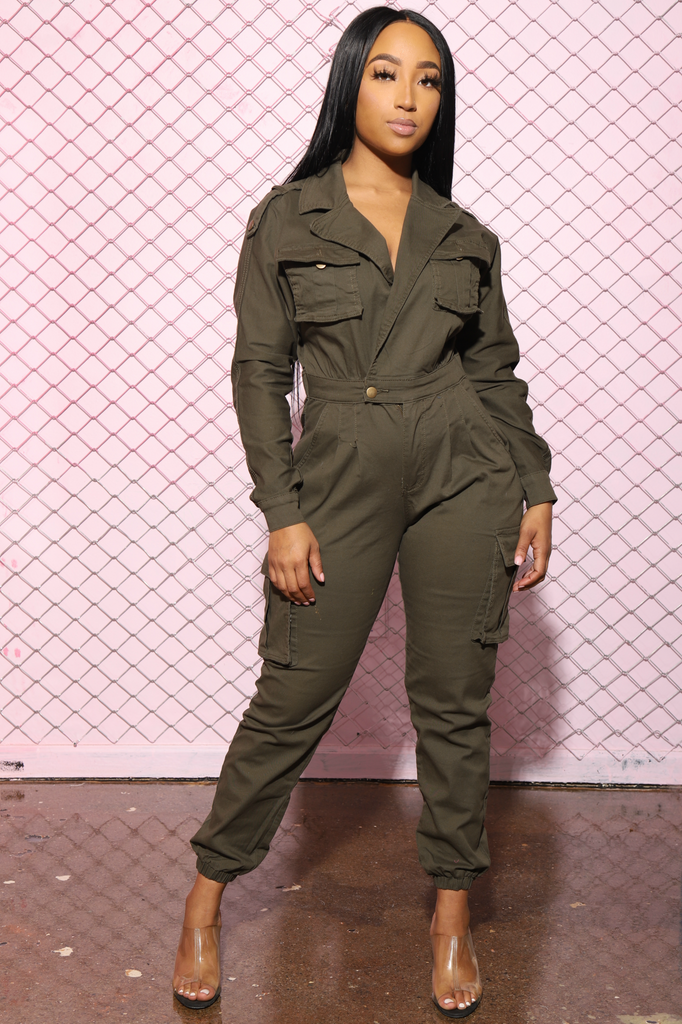 Cadet Utility Full Jumpsuit - Olive - Swank A Posh