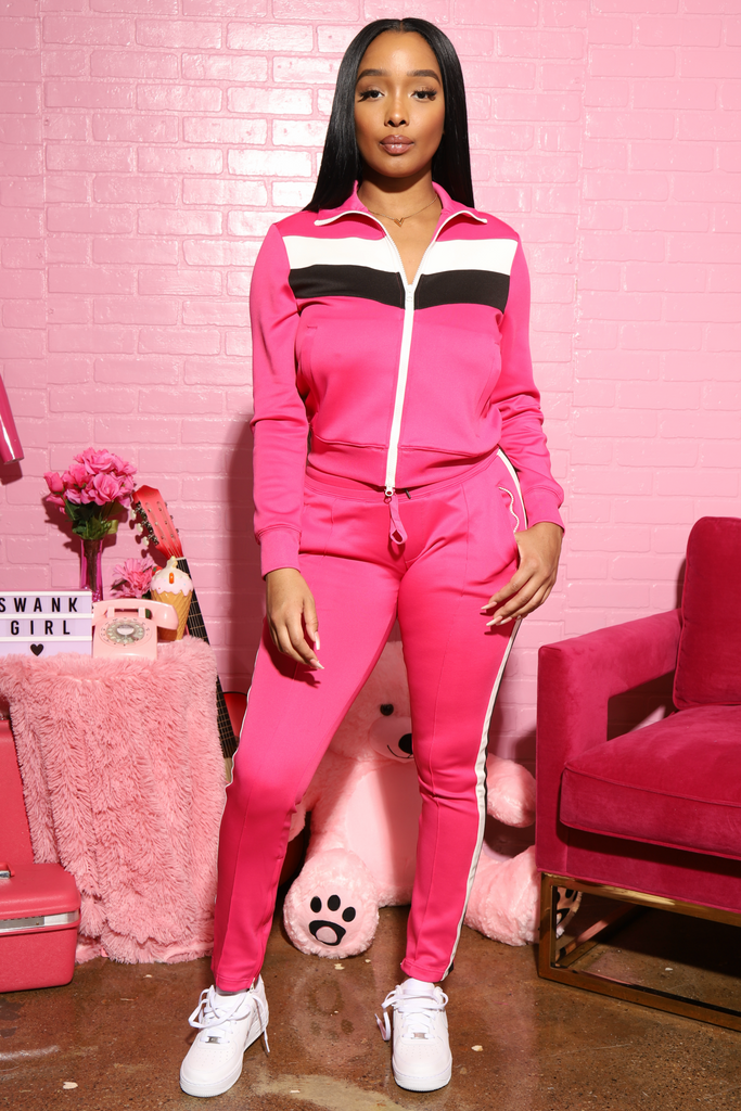 Cruze Multi Colored Stripe Tracksuit - Pink/White - Swank A Posh