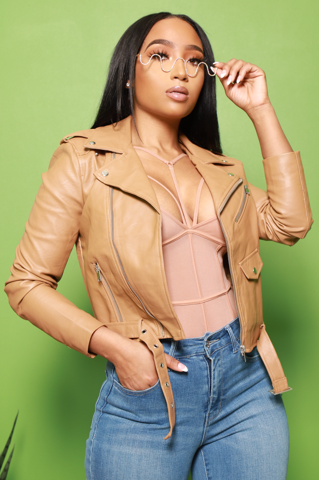 Doing Me Faux Leather Moto Jacket - Camel - Swank A Posh