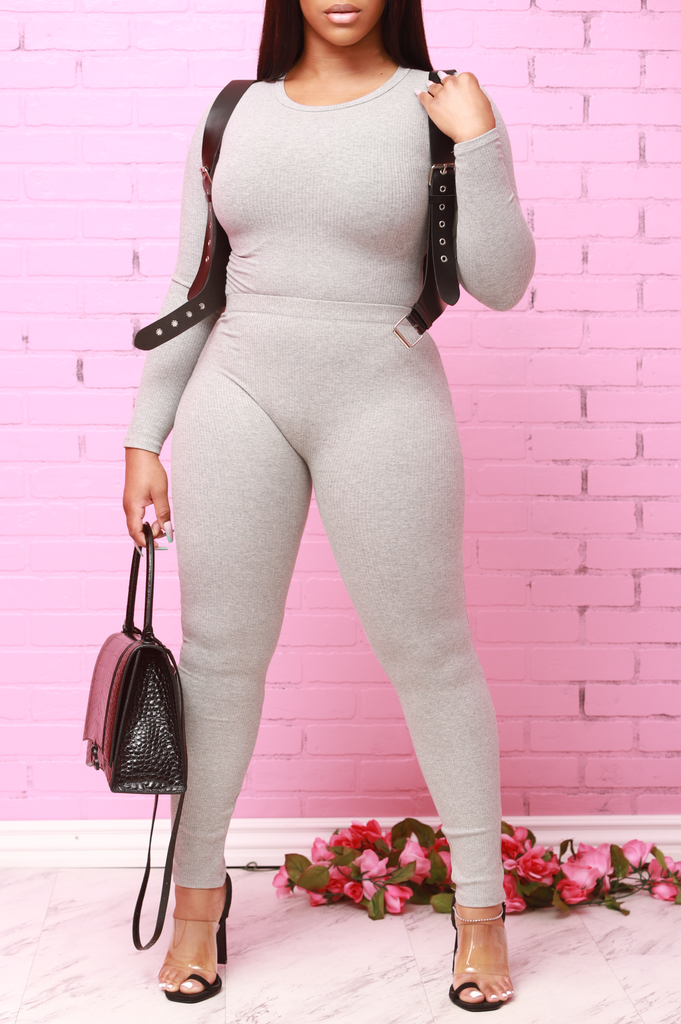 Close Enough Ribbed Pants Set - Heather Grey - Swank A Posh