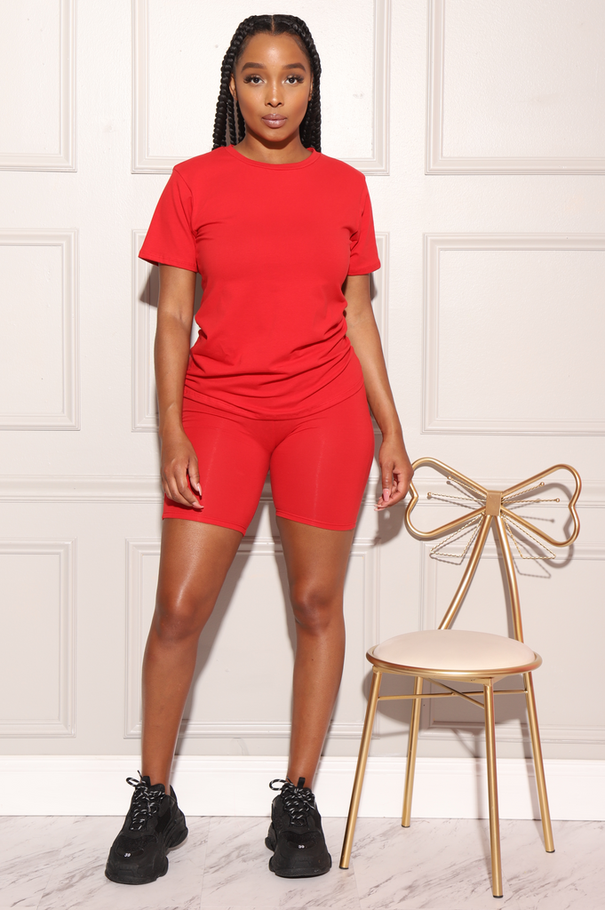 Spare T-Shirt Biker Set - Red - Swank A Posh