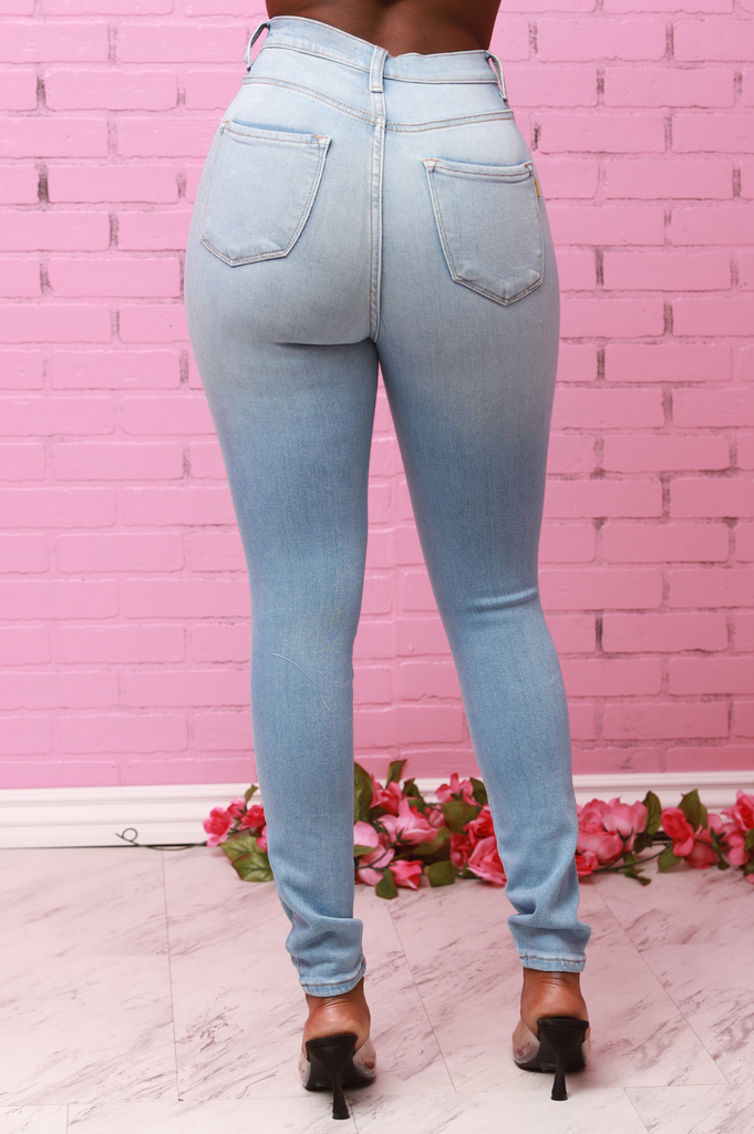 Burst Your Bubble High Rise Jeans - Light Wash - Swank A Posh