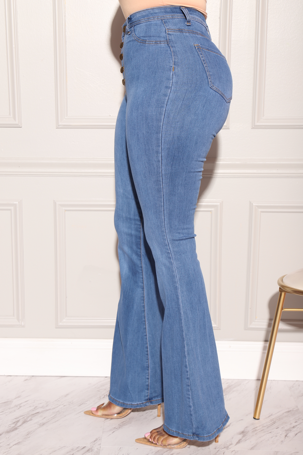 Dina High Waist Stretchy Bell Bottom Jeans - Mid Wash - Swank A Posh