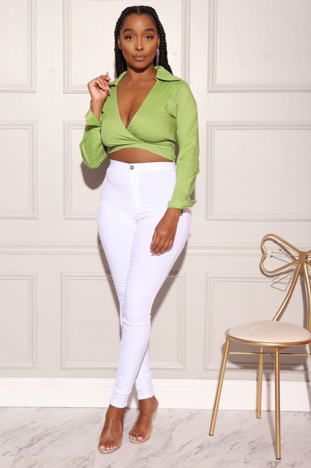 Blake Cropped Tie Blouse - Green - Swank A Posh