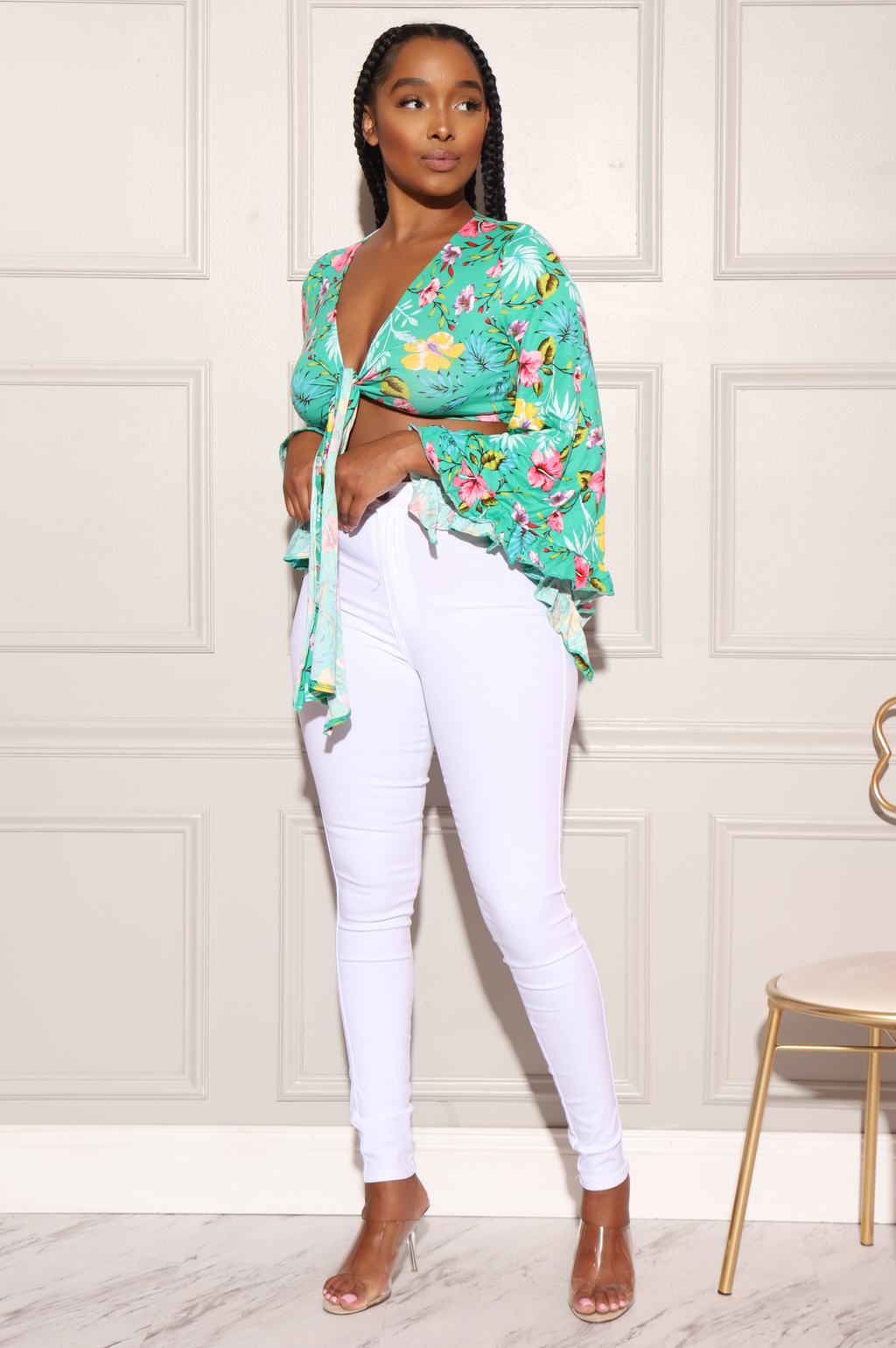 Spring Floral Bell Sleeve Crop - Kelly Green - Swank A Posh