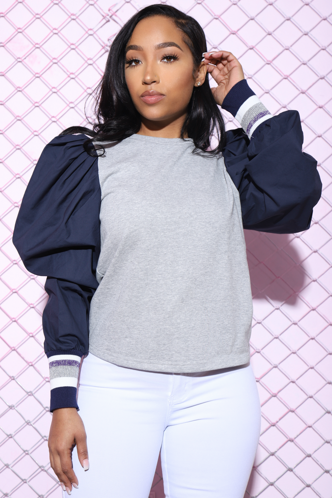 Courtside Power Shoulder Sweater - Swank A Posh