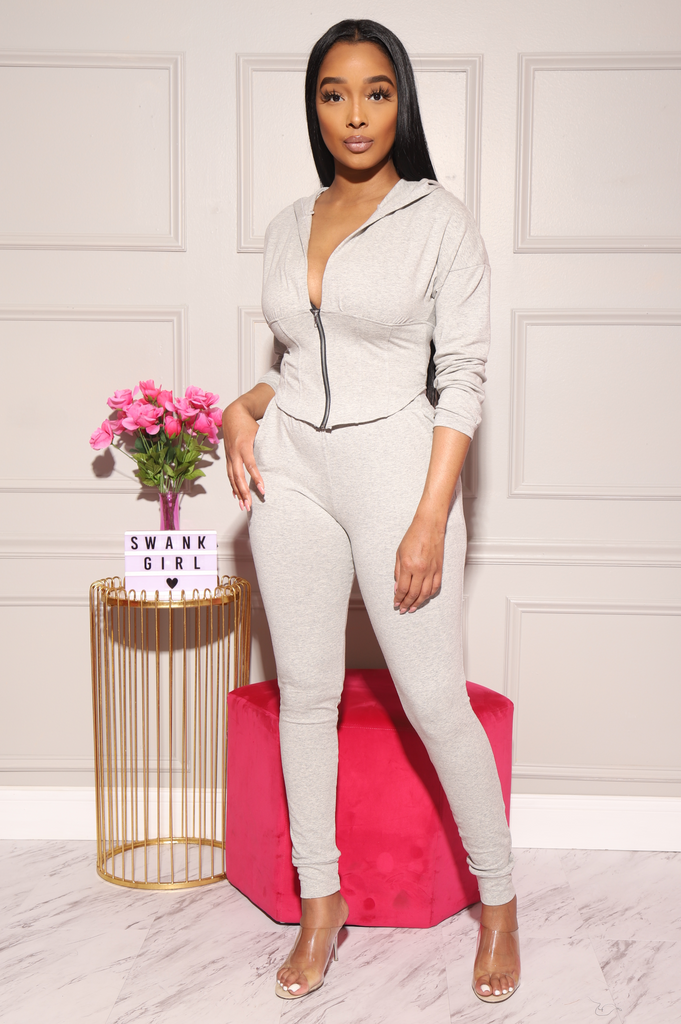 Lila Corset Jogger Set - Heather Grey - Swank A Posh