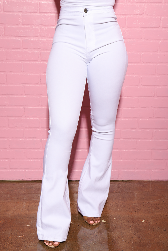 Major High Rise Flare Stretchy Jeans - White - Swank A Posh