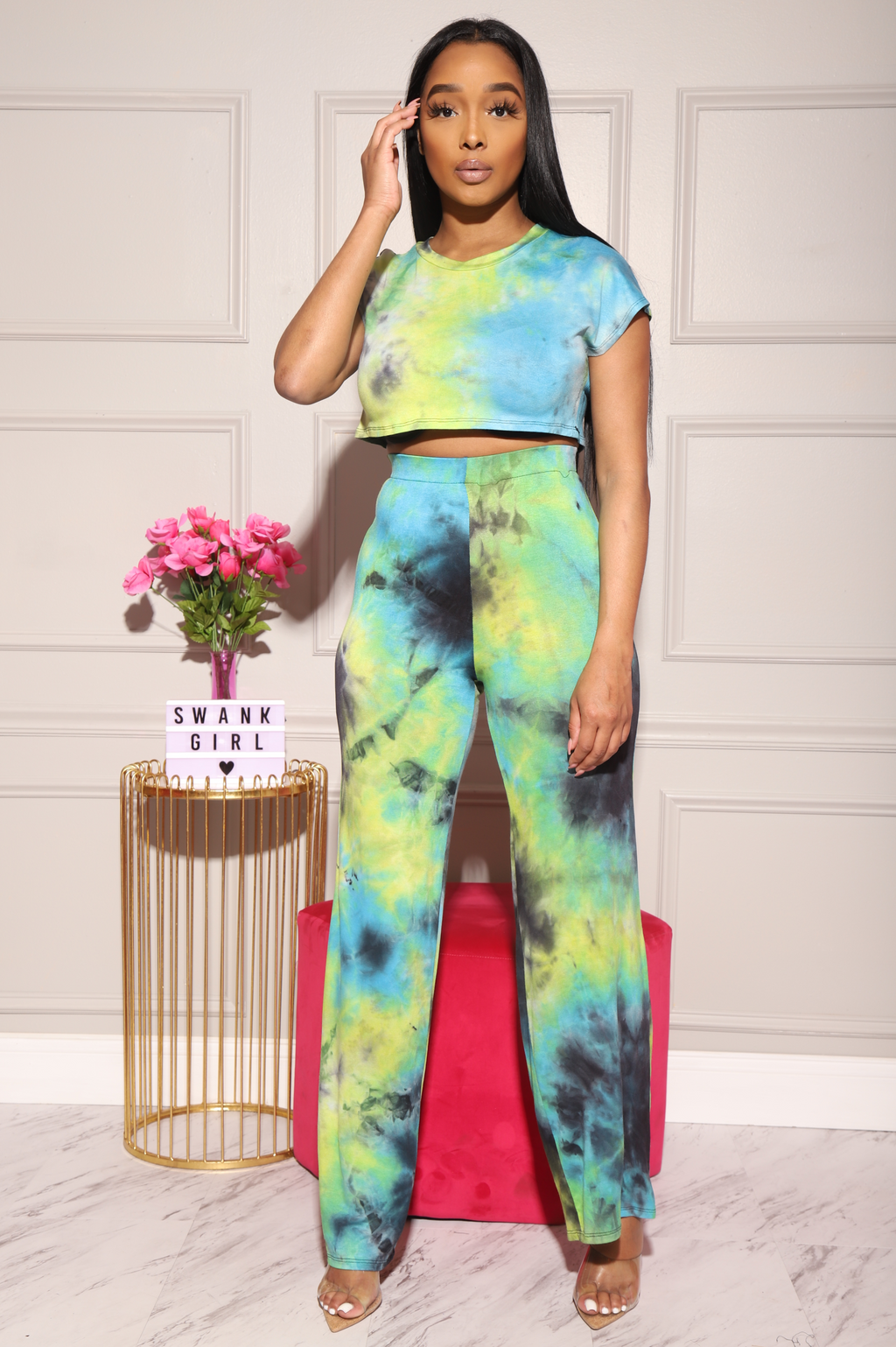 Bright Idea Tie Dye Flare Pants Set - Blue - Swank A Posh