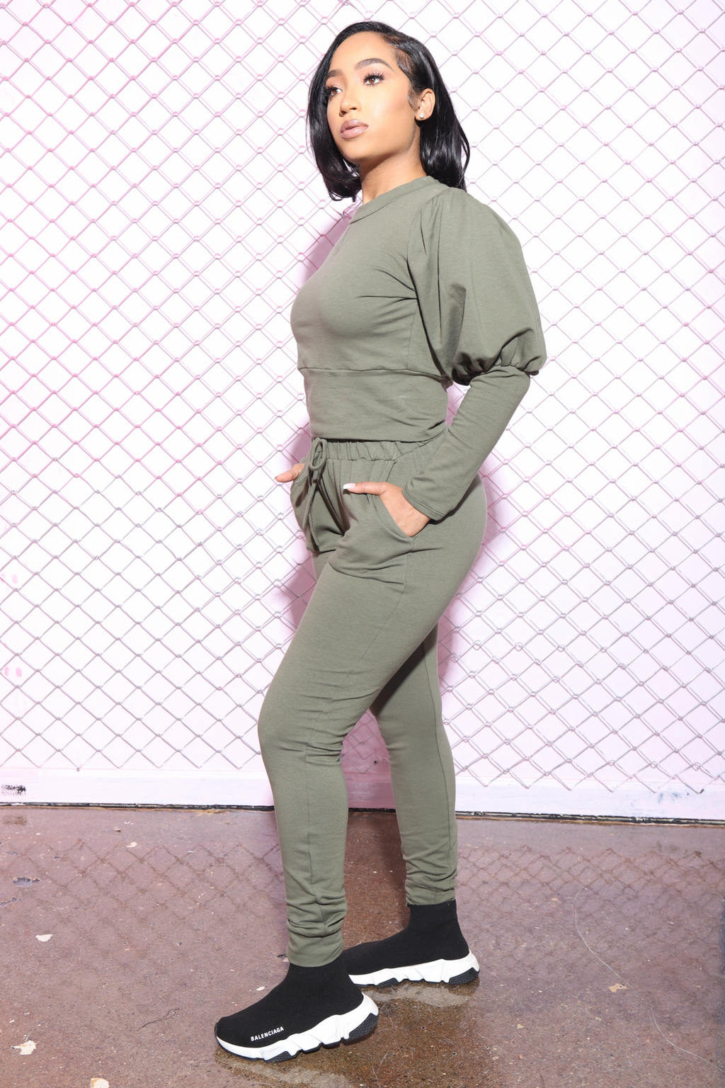 Diary Power Sleeve Jogger Set - Olive - Swank A Posh