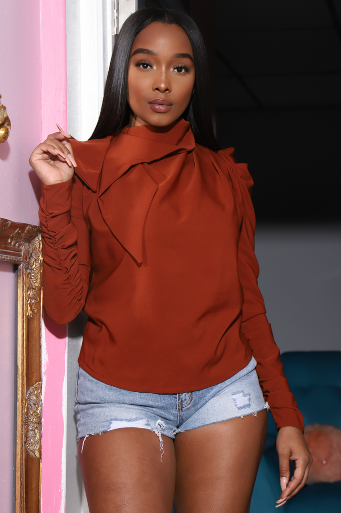 Welcome Ruffle Turtleneck Blouse - Copper - Swank A Posh
