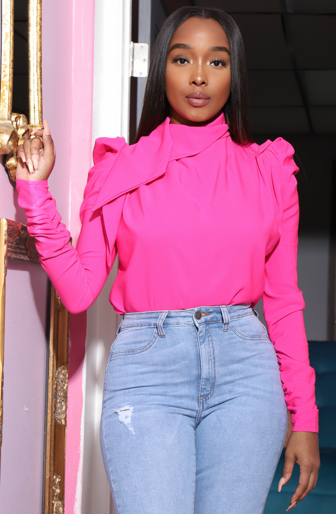 Welcome Ruffle Turtleneck Blouse - Hot Pink - Swank A Posh