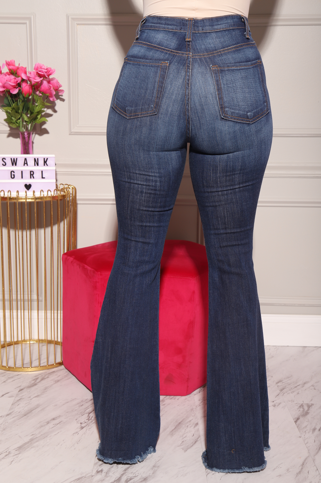 Bout Time Distressed Bell Bottom Jeans - Medium Wash - Swank A Posh