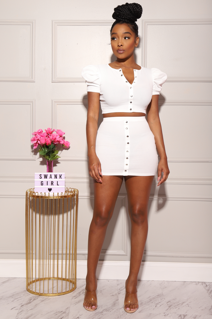 High Fashion Mini Skirt Set - White - Swank A Posh