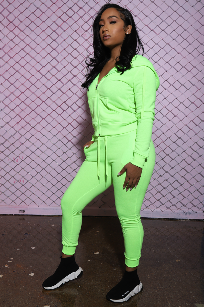 Like That Jogger Set - Neon Green - Swank A Posh