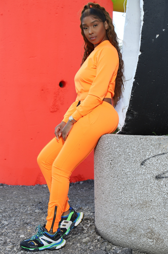 Brazil Lined Jogger Sweatsuit - Orange - Swank A Posh