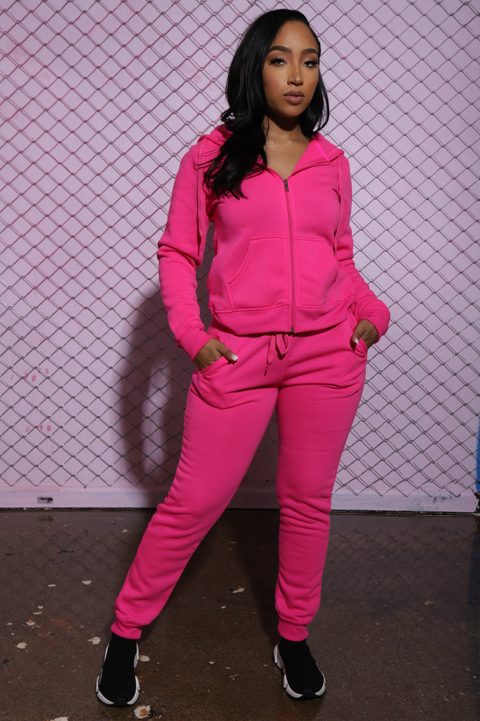 Like That Jogger Set - Neon Pink - Swank A Posh