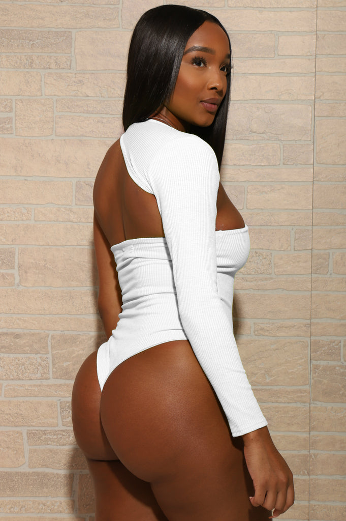 Abby One Shoulder Bodysuit - White - Swank A Posh