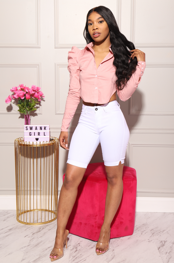 Diva Cropped Button Up Top - Blush - Swank A Posh