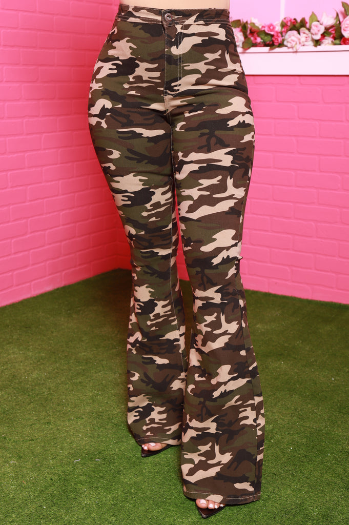 Rank High Rise Flare Jeans - Dark Camo - Swank A Posh