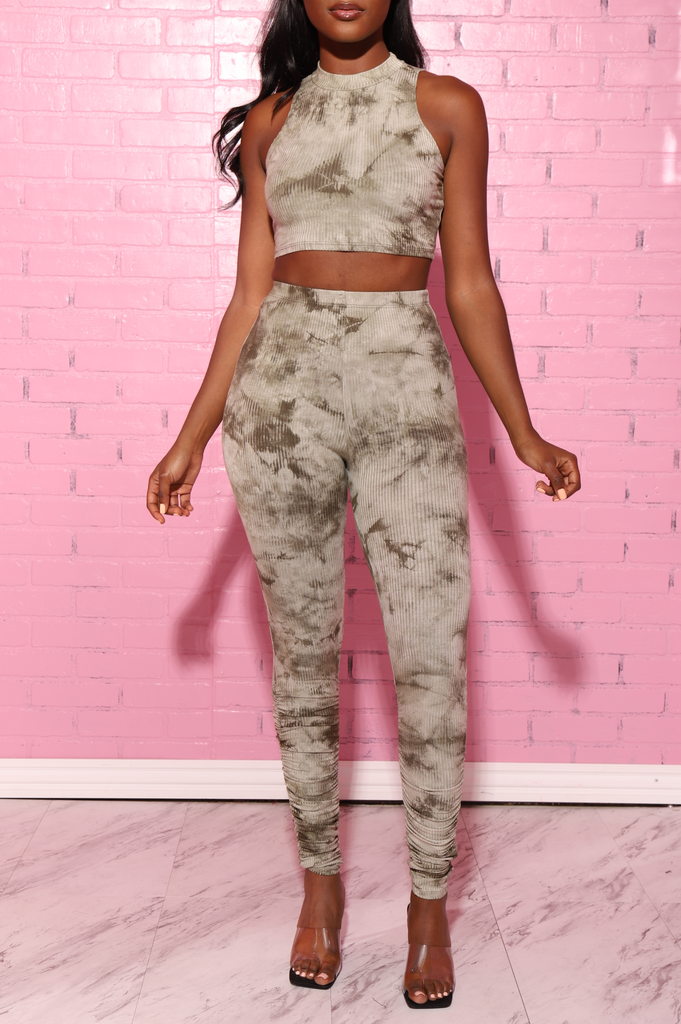 Zoom Ribbed Pants Set - Olive Tie Dye - Swank A Posh