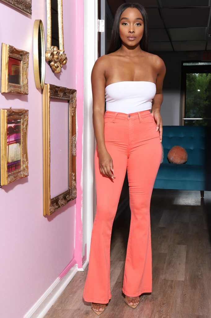 Ring My Bells Bell Bottom Jeans - Coral - Swank A Posh