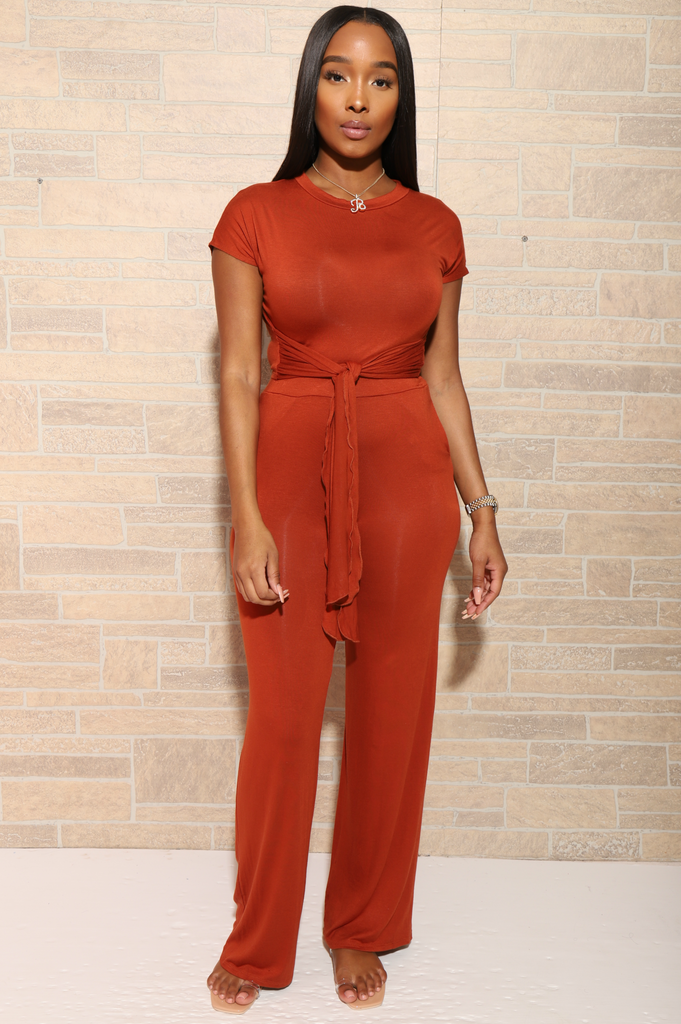 Break Up Flare Pants Set - Copper - Swank A Posh
