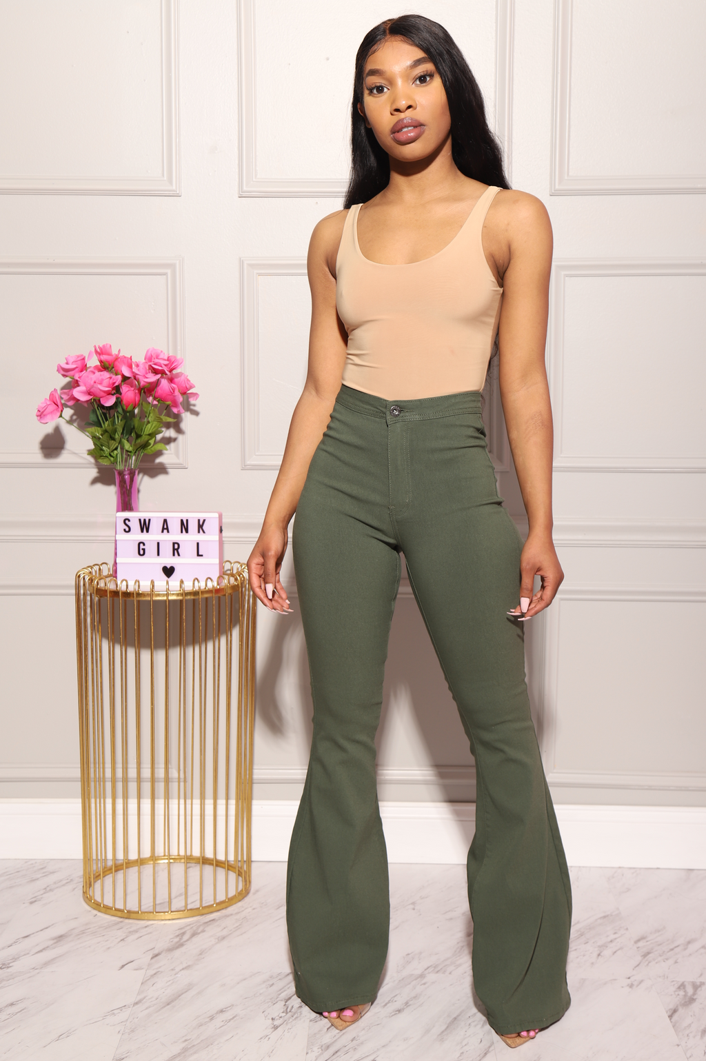 Major High Rise Flare Stretchy Jeans - Olive - Swank A Posh