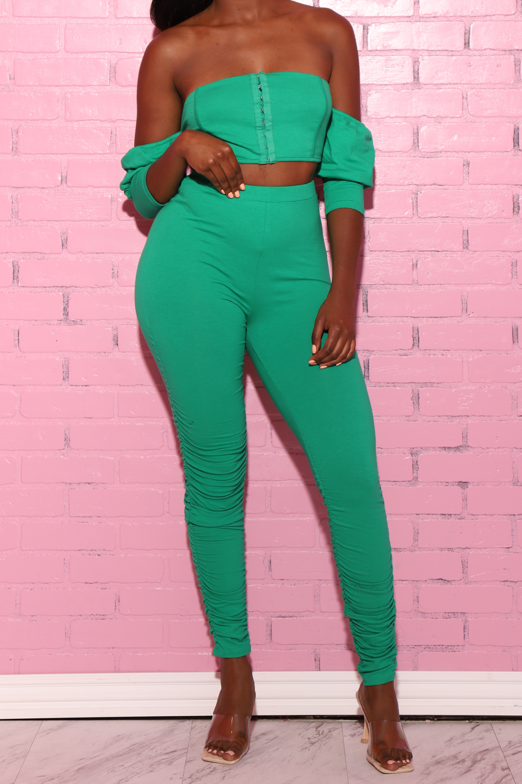Doom Ruched Pants Set - Kelly Green - Swank A Posh