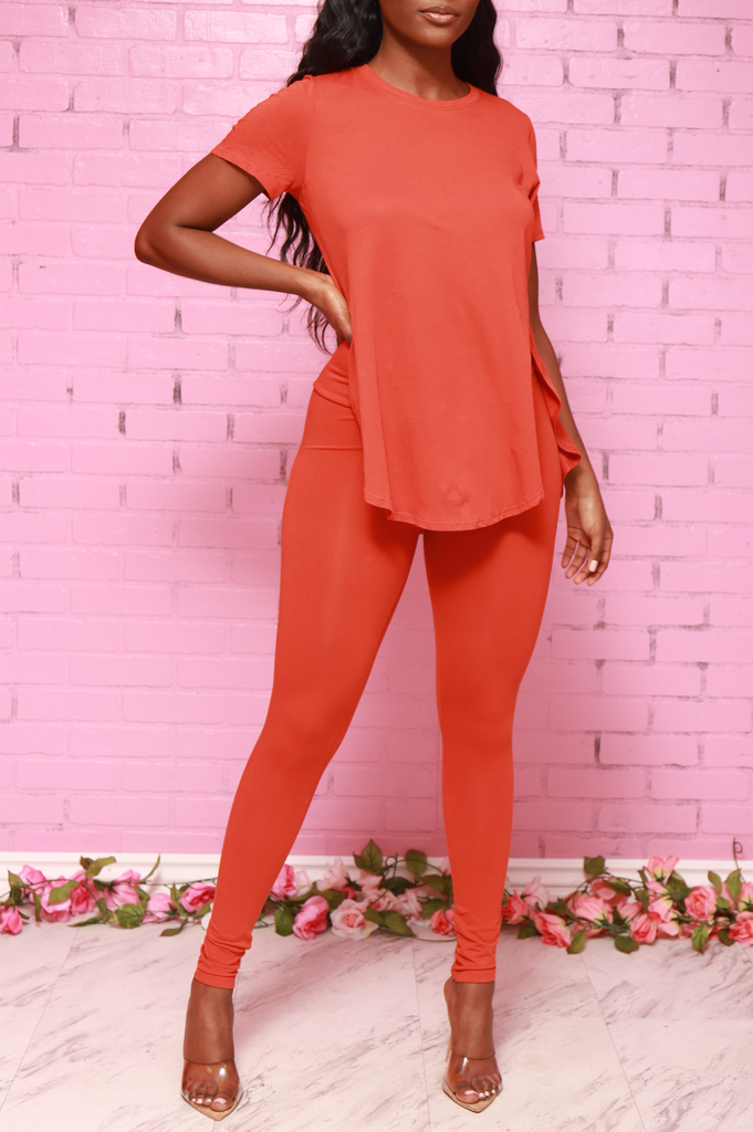 Over Due T-Shirt Pants Set - Bright Rust - Swank A Posh
