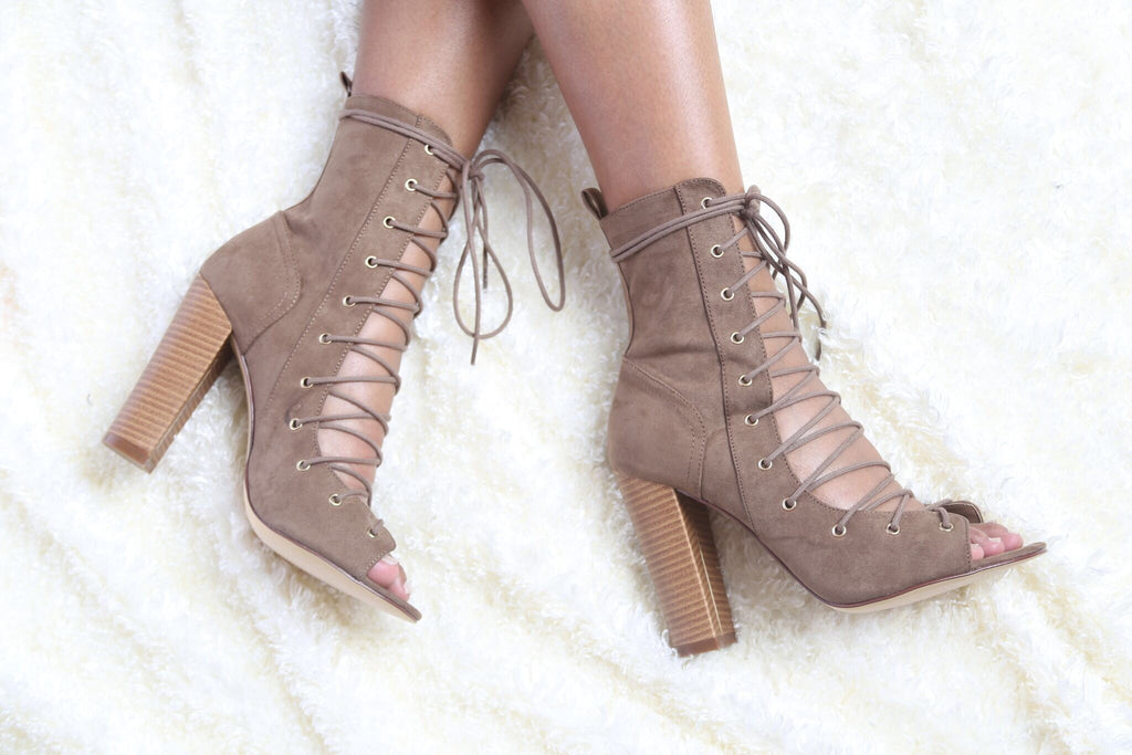 Decoded Taupe Lace-Up Bootie