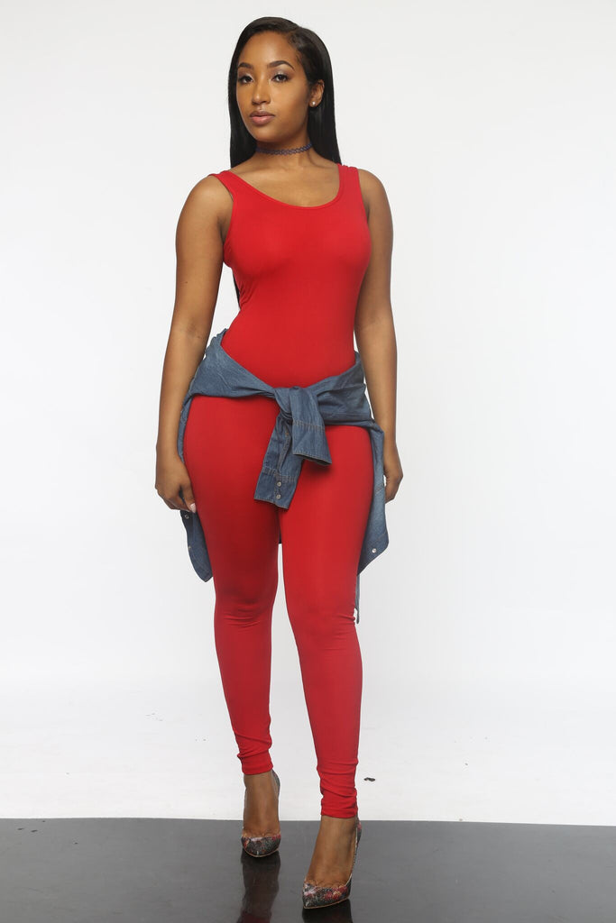 Jump Off Jumpsuit - RED