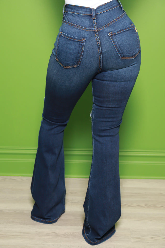 Busted Distressed High Rise Flare Jeans - Dark Wash - Swank A Posh