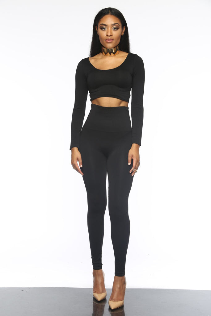Seamlessly Simple Black Legging Set ONE SIZE
