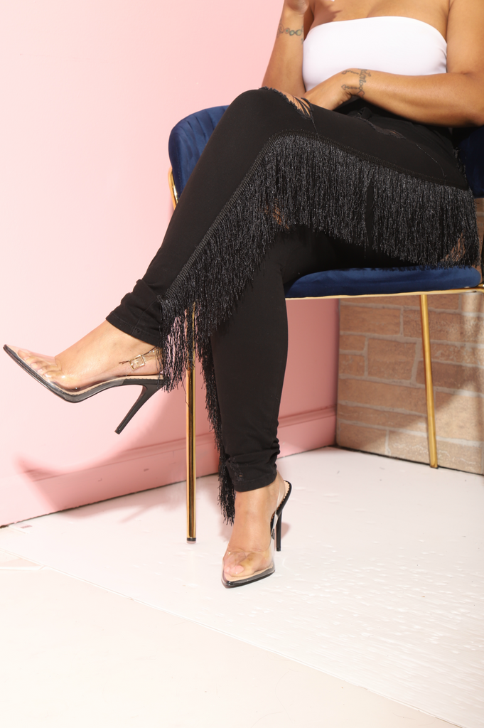 Forward Black Fringe High Rise Jeans - Swank A Posh