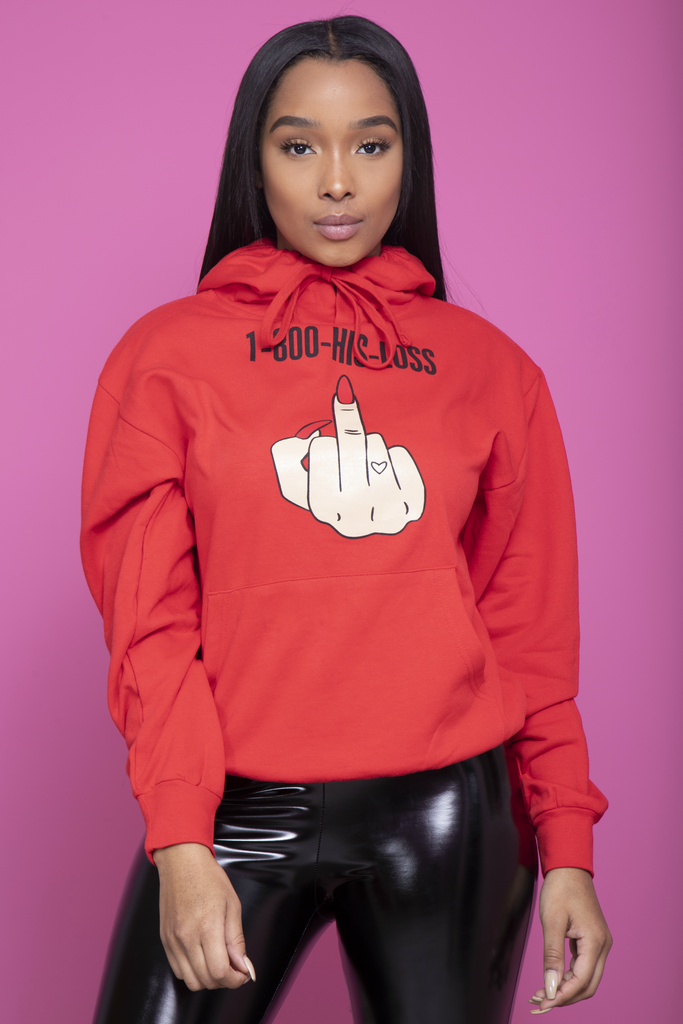 1-800-His-Loss Hoodie - Red - Swank A Posh