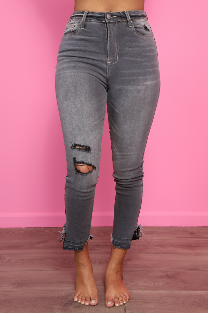 Lara Grey Distressed Mid Rise Jeans - Swank A Posh