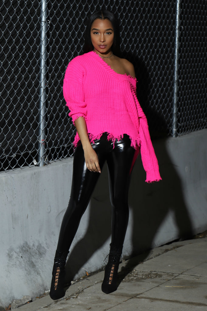 Frayed Lines Hot Pink Sweater - Swank A Posh