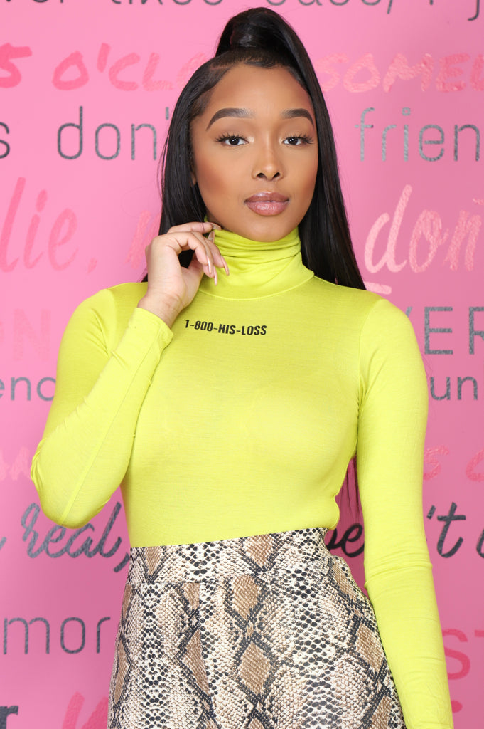 1-800-His-Loss Turtleneck Bodysuit - Lime/Black - Swank A Posh