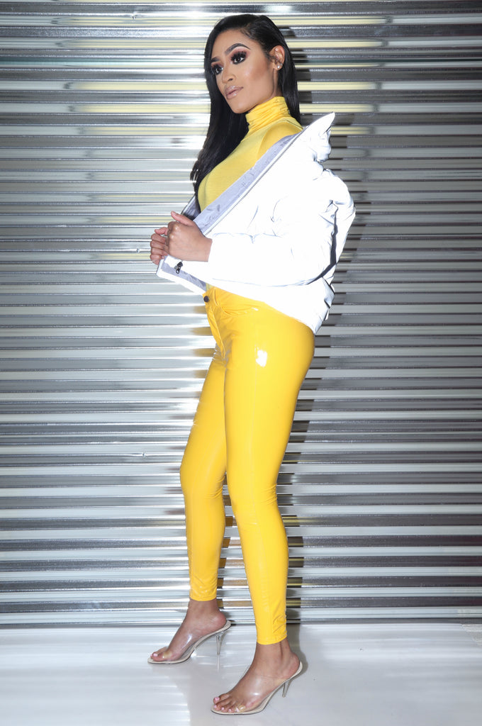 Yield Yellow Latex Stretchy Pants - Swank A Posh