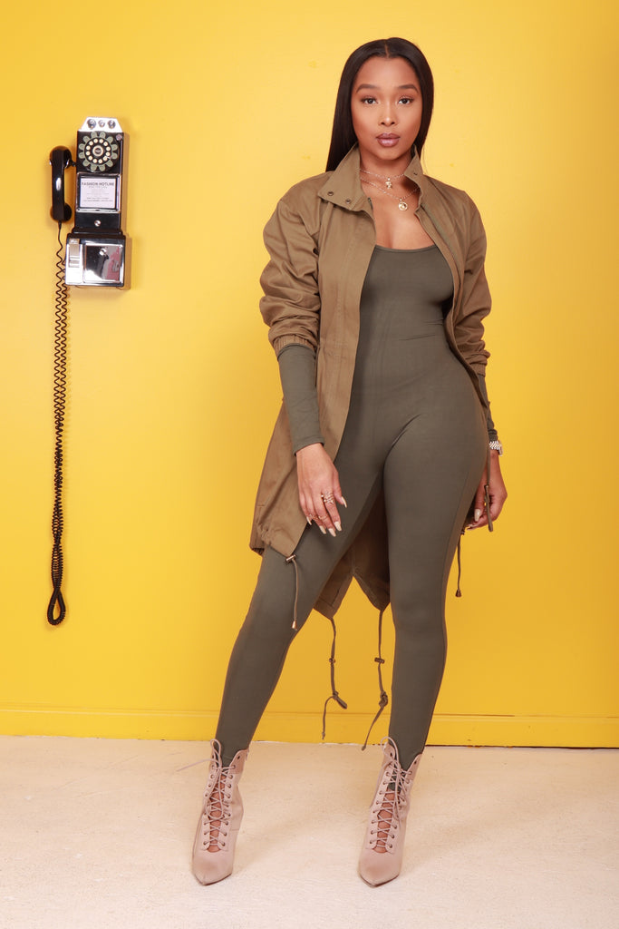Swerve Long Sleeve Jumpsuit - Olive - Swank A Posh