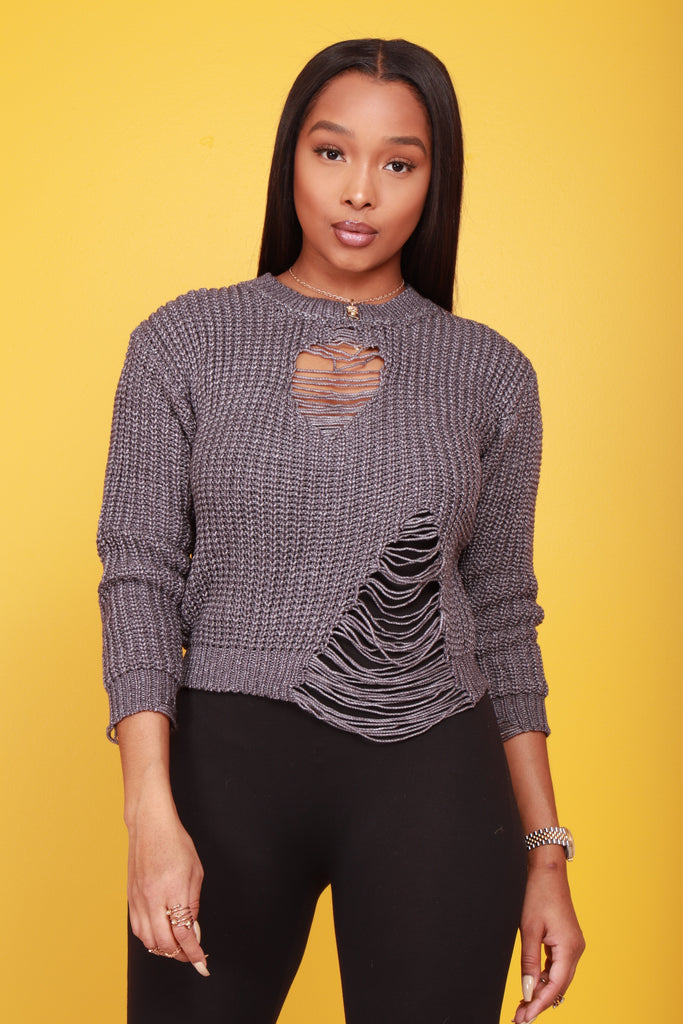 No Profit Distressed Sweater - Ash - Swank A Posh